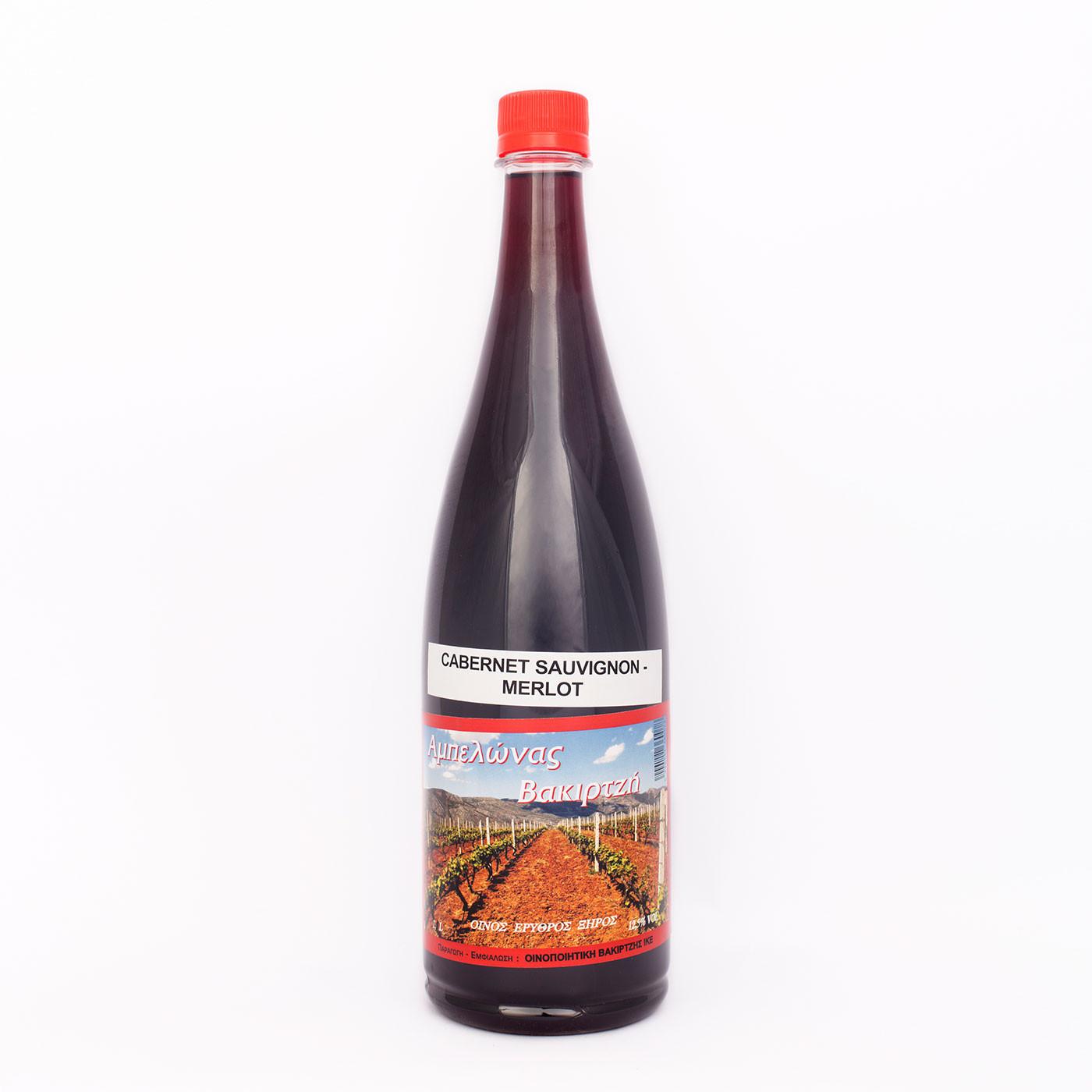 """Οίνος Ερυθρός Ξηρός ποικιλίας Cabernet Sauvignon """"Αμπελώνας Βακιρτζή"""" 1.0 Lt."""