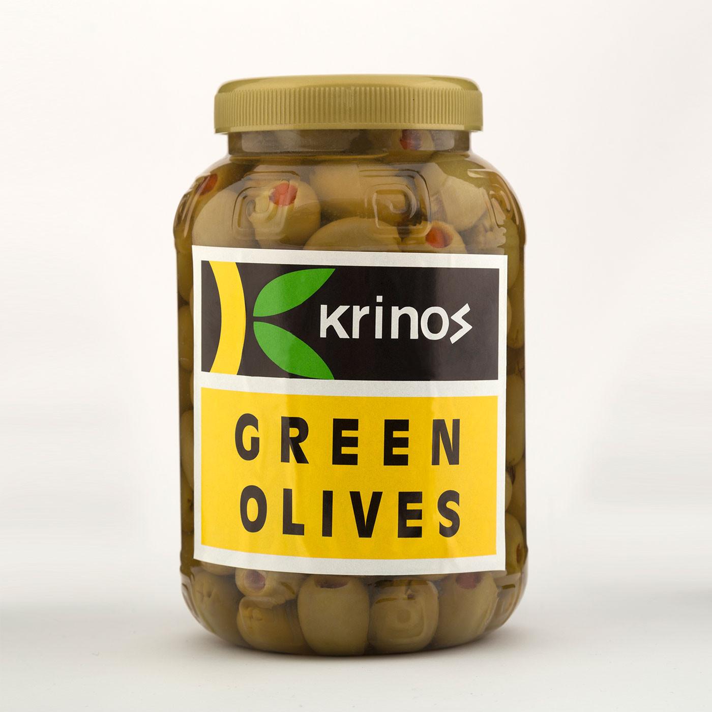 """Ελιές Πράσινες γεμιστές με πιπεριά σε άλμη """"Krinos"""" 1 kg"""
