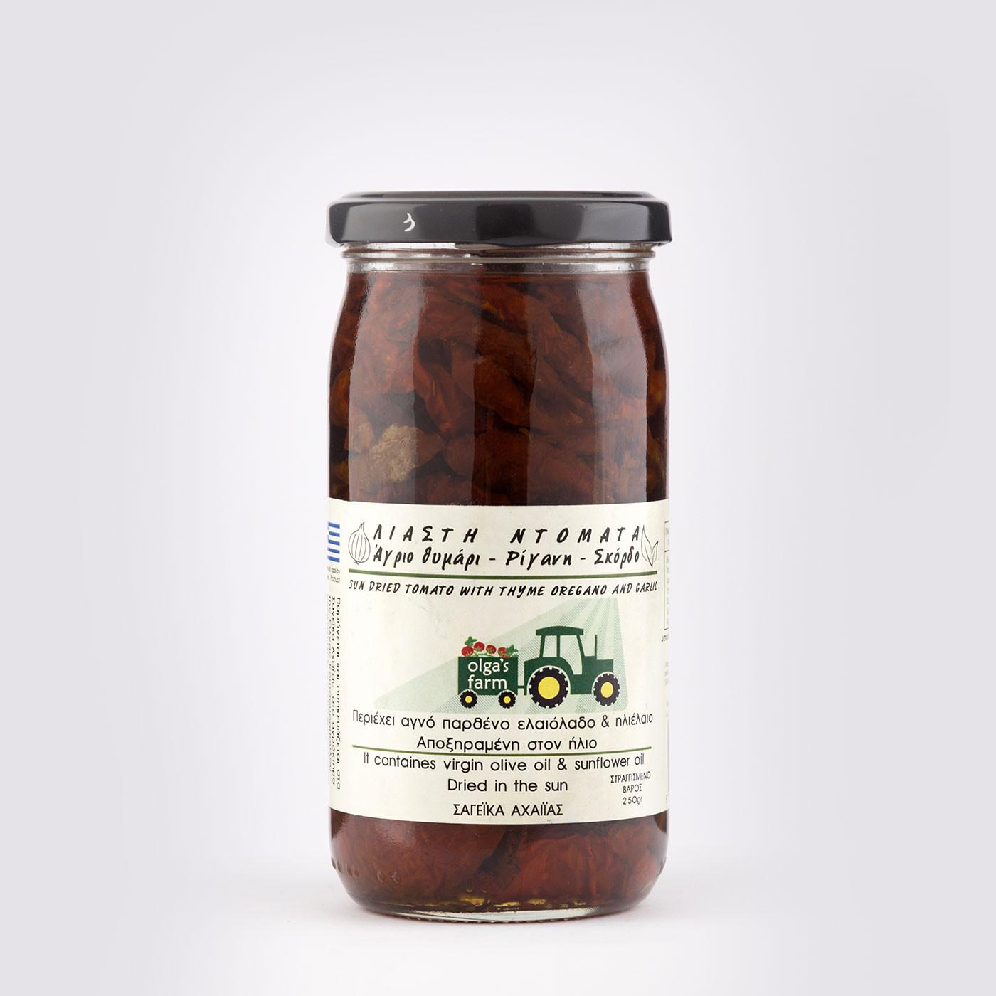 """Λιαστή Ντομάτα με Άγριο θυμάρι-Ρίγανη-Σκόρδο """"Olga's farm"""" 250 g"""