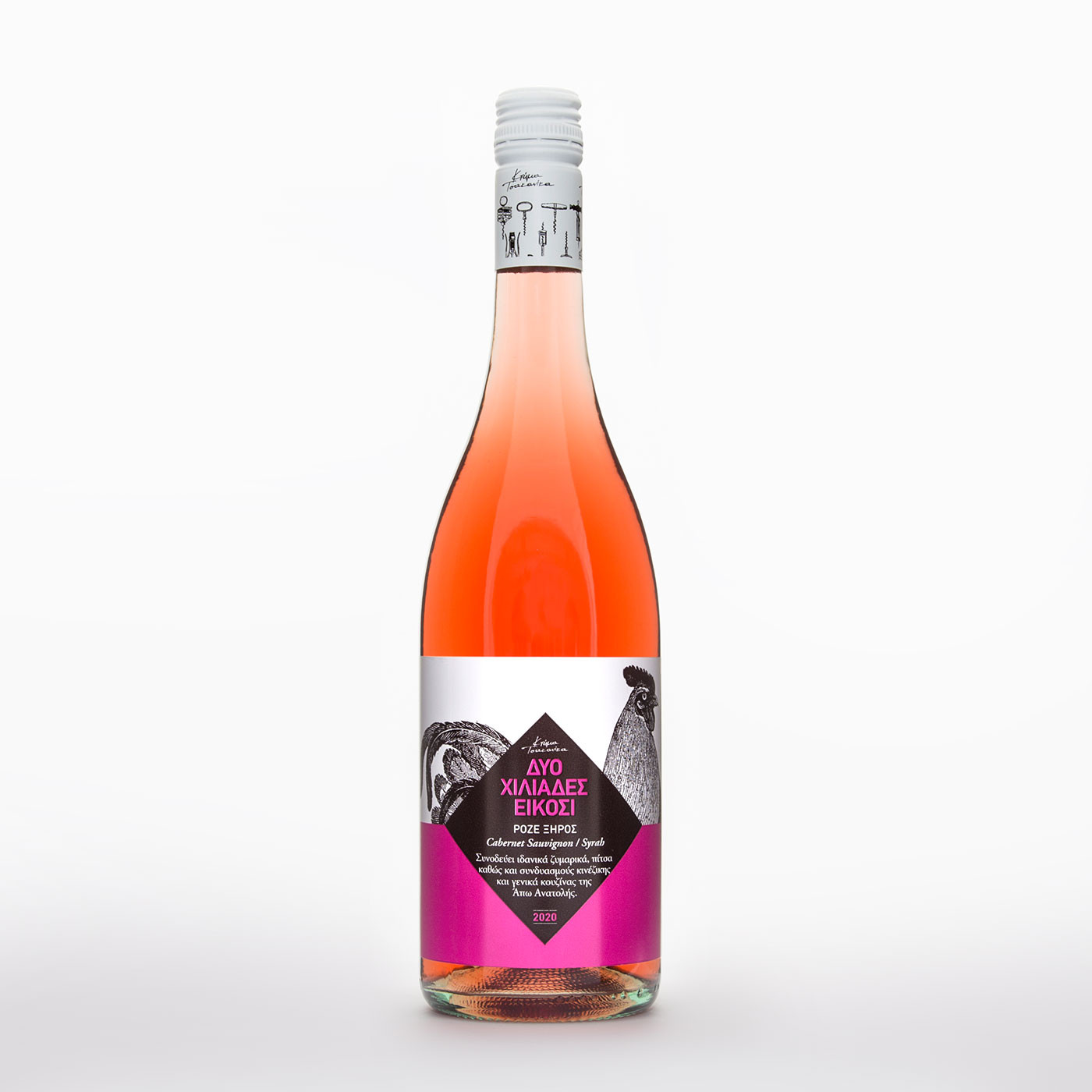 """Οίνος Ροζέ Ξηρός ποικιλίας Cabernet Sauvignon/Syrah """"2020"""" """"Κτήμα Τσακανίκα"""" 750 ml"""