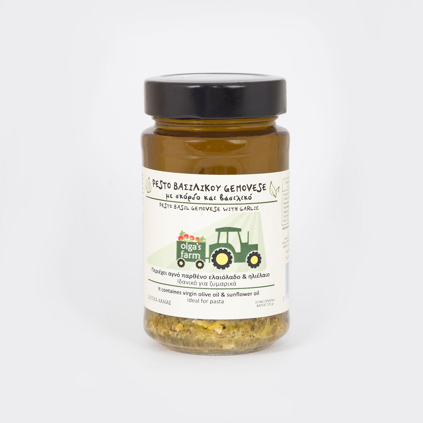 "Pesto Βασιλικού genovese με σκόρδο και βασιλικό ""olga's farm"" 220 g"